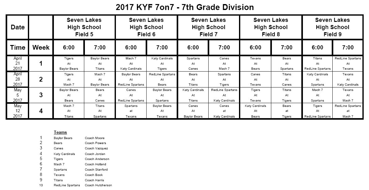 2015 Fall SV Schedule
