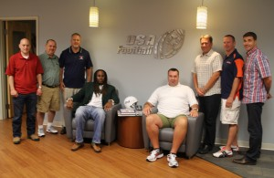 From Left to Right: Anthony Biello, Brian Noe, Terry Riddle, Leroy Hollins II, Jeff Glenn, Gary Del Vecchio, Geoff Meyer and USA Football Executive Director Scott Hallenbeck